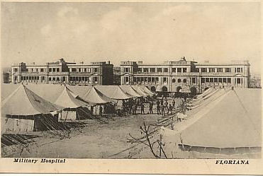 Black and white image of tents forming Floriana Barracks Hospital