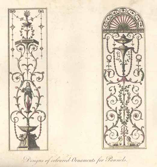 Two ornate designs shown side-by-side for coloured ornaments for gate panels
