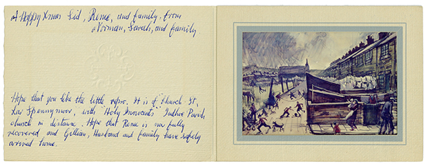 """Christmas card with message """"A happy xmas Sid, Rene, and family from Norman, Sarah and family"""" which includes a reproduction of painting 'Church Street, Low Spennymoor' by Norman Cornish"""
