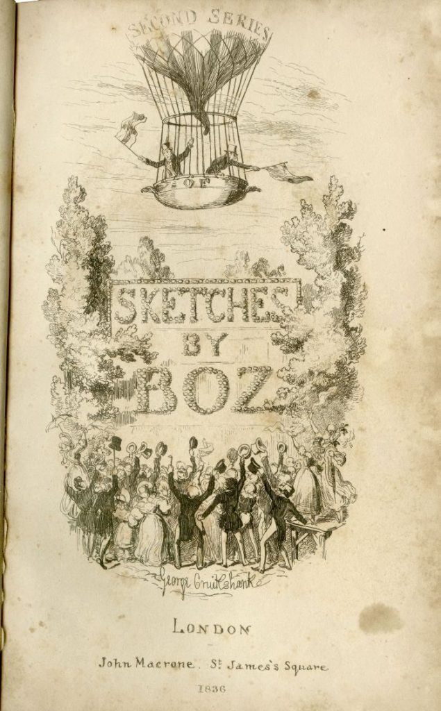 Title page of Sketches of Boz, 1836
