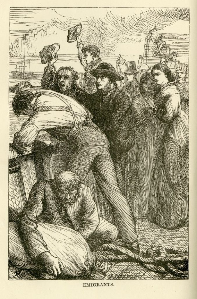 Illustration of emigrants: a crowd of people on board a ship.