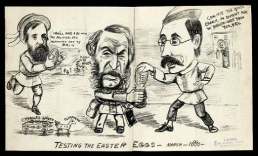 Cartoon depicts three candidates who stood for election in Newcastle upon Tyne; Joseph Cowen, Ashton Wentworth Dilke and Charles F. Hamond