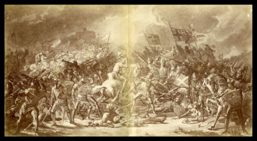 Battle scene illustration from Shakespere's Historical play of Henry the Fifth by William Shakespeare, Manchester