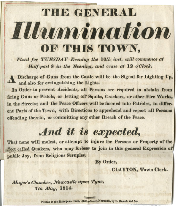 Illumination of Newcastle, 1814: Newspaper cutting, posters etc. concerning the celebrations of 1814 to mark the end of the Napoleonic Wars