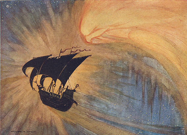 Image of a silhouetted ship sailing across an orange blue background