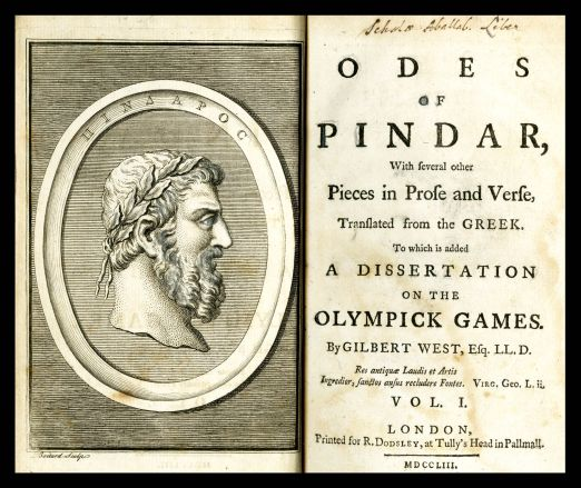 Title page from 'Odes of  Pindar'