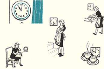 Illustration of a mother's routine, showing an image of a clock, mother holding a baby, ironing, reading/writing and 2 x cups of tea.