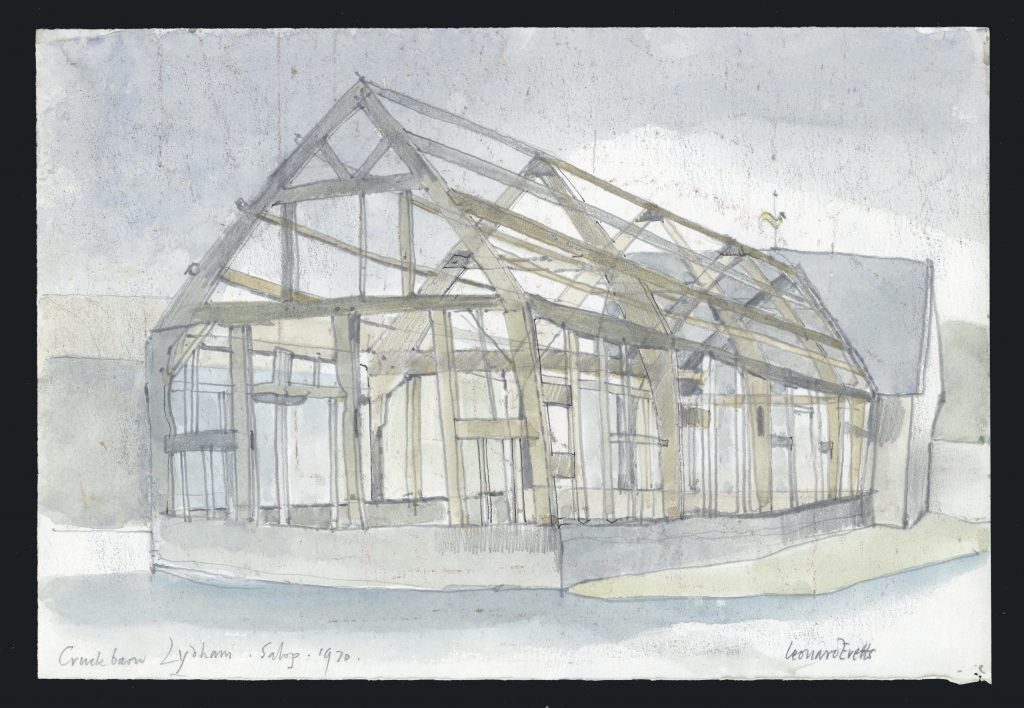Sketch of Cruck Barn, Lydham