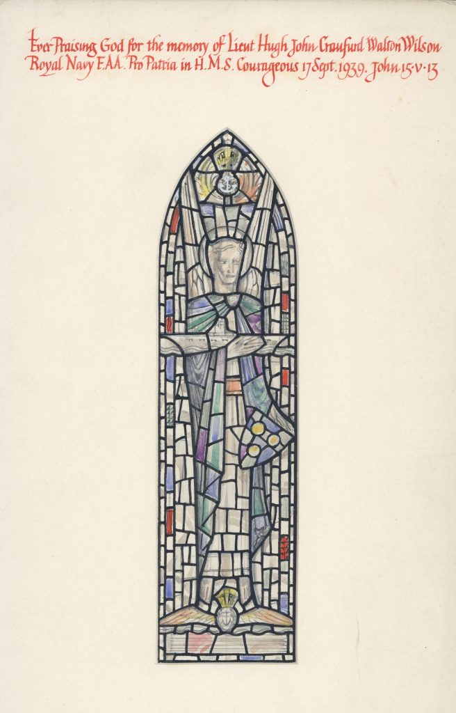 Proposed design for a Memorial Window to Lieut. Hugh Walton-Wilson, Church of St John, Snod's Edge, Northumberland