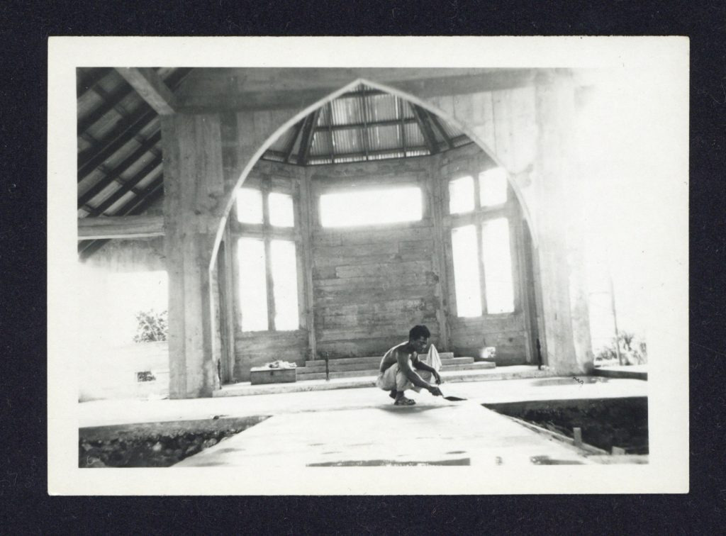 Photograph of the construction of the church, 1952, sent to Evetts before design began
