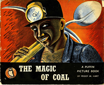 Front cover of The Magic of Coal, showing a coal miner holding a shovel with his tattoo of St. George defeating the dragon on his chest.