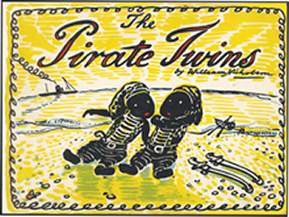 Front cover of The Pirate Twins, depicting the Pirate Twins on a yellow background.