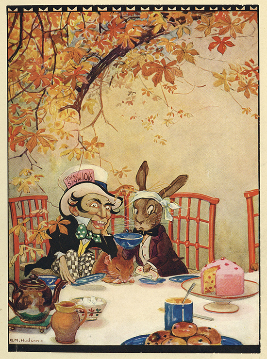 Reproduction of a tipped-in colour plate by Gwynedd M. udson depicting the Made Hatter's tea party