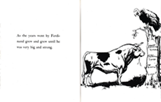 Pages from The Story of Ferdinand, by Munro Leaf.