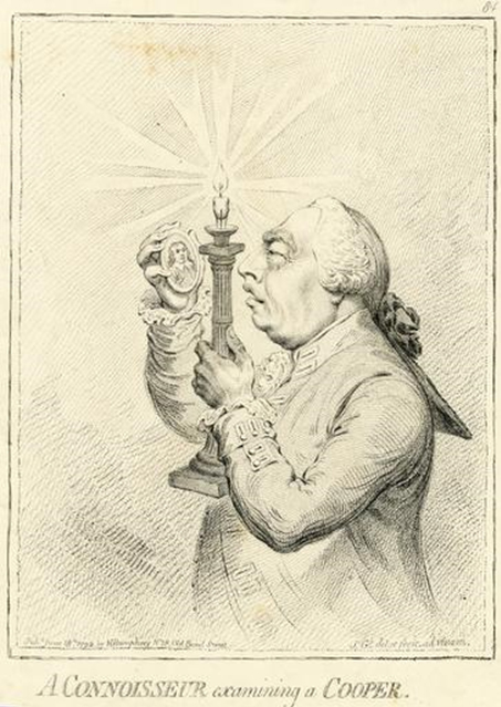 Satirical cartoon, depicts King George III examining Samuel Cooper's famous miniature portrait of Oliver Cromwell.