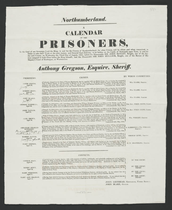 Northumberland. A Calendar of the Prisoners, In the Gaol of our Sovereign Lord the King, in and for the county of Northumberland, for what Crimes, and by whom and when committed, in Order to take their Trials at the next aAsizes, and General Gaol Delivery, to be holden at the Castle of Newcastle upon Tyne, in and for the said County, on Wednesday the Third Day of August, 1825, before the Honourable Sir John Bayley, Knight, one of the Justices assigned to hold Pleas before the King himself; and the Honourable Sir John Hullock, Knight, one of the Barons of His Majesty's Court of Exchequer, at Westminster