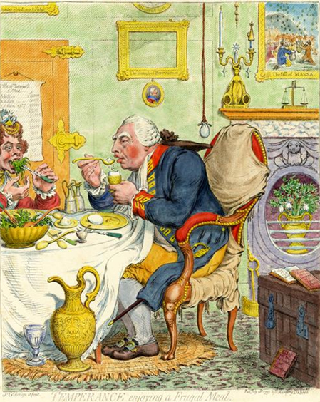 Satirical cartoon, satirises King George III and Queen Charlotte's austere lifestyle. Although they surround themselves with the trappings of royalty, they are seen humbly feasting on eggs and sauerkraut ; the King economizing further by using the table cloth as a napkin.
