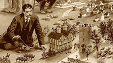 Image of H.G. Wells playing with an indoor war game.