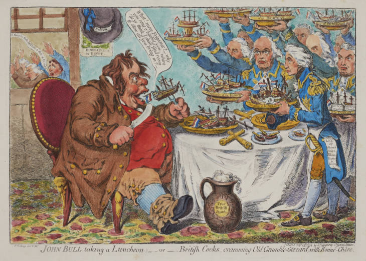 Satirical cartoon, depicts a celebration of Lord Horatio Nelson's recent naval success at Abokir Bay. John Bull, a symbol of England, is served a large meal courtesy of other British naval victors, including Admirals Warren, Gardiner, Howe, Bridport, St. Vincent, and Duncan. The opposition Whig MPs Charles Fox and Richard Brinsley Sheridan can be seen fleeing in a state of shock outside the window.