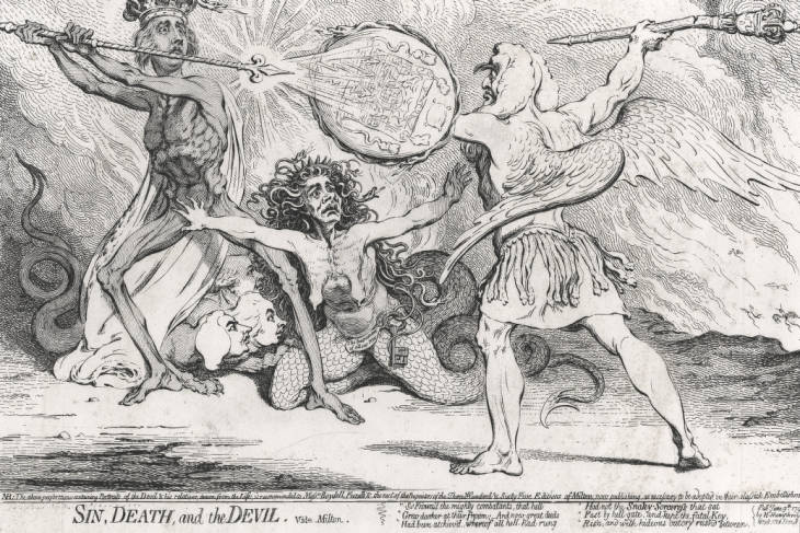 Satirical cartoon, satarises the conflict between Pitt and his Lord Chancellor Edward Thurlow as a scene in Milton's Paradise Lost. Pitt is depicted as death on the left and Thurlow satan on the right, with Queen Charlotte in the centre protecting Pitt, which along with the crown he wears represent his favour with the monarchy.