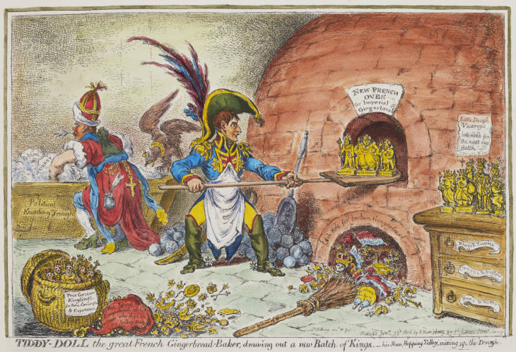 Satirical cartoon, depicts the dynastic ambitions of Napoleon on the Continent. He creates new Kinglings in his 'New French Oven', helped by his Minister of Foreign Affairs Talleyrand.