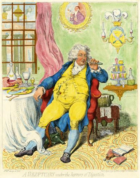 Satirical cartoon, depicts an obese George, Prince of Wales and later Prince Regent and George IV. A man renowned for his self-indulgence and wantonness, he reclines in his dining chair having gorged himself on a huge meal. Previously regarded as possessed of striking good looks, the Prince's corpulence and greed as he approached 30 is mercilessly satirised; his waistcoat barely fastened over his distended stomach as he rudely picks his teeth with a fork.