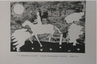 """""""A Midnight Gallop"""" (right) by an 11 year old girl contrasts the images of the foreground: the horse, bushes and the moon, with the dark background of the night. The polar opposite to a silhouette, these objects in the foreground are white instead of black."""