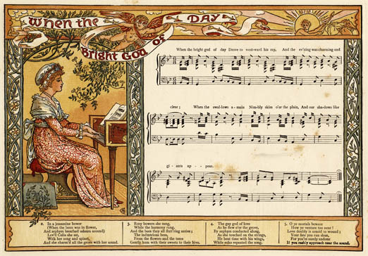 Illustration of When the Bright God of Day, with accompanying music script