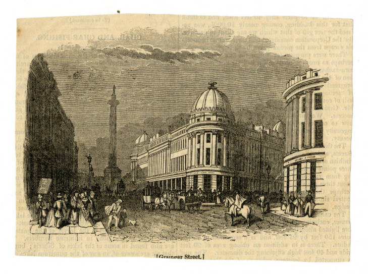 Illustration of Grainger Street,  depicting Grey's Monument and buildings