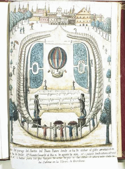 Illustration of Vincente Lunardi riding in a colourful balloon ascending (going upwards) from the Jardin del Buen Retiro (the public garden) in Madrid on 12th August 1792.