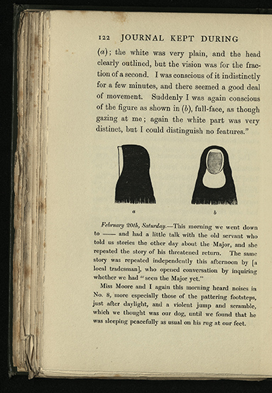 Illustration of a faceless apparition, observed by 'Mr Q.', a visitor at Ballechin