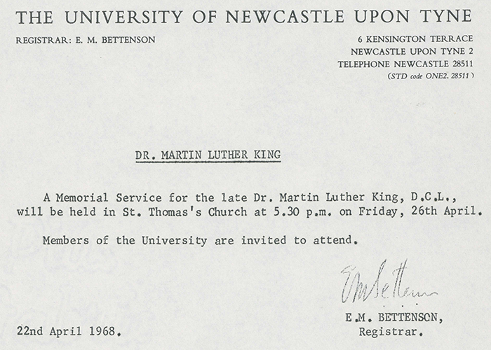 "E.M. Bettenson, ""Dr. Martin Luther King,"" announcement, 22 April, 1968"