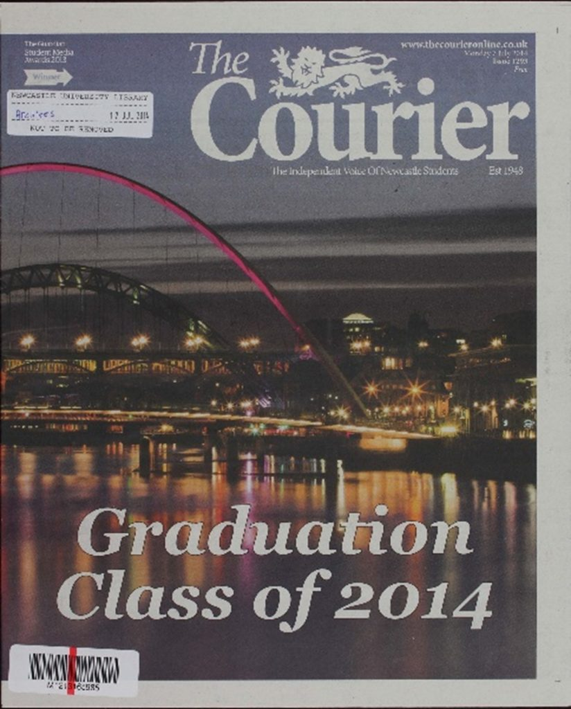Front page of an issue of The Courier Newspaper.