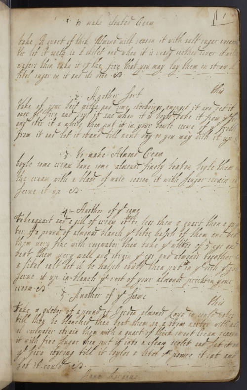 Handwritten page from Jane Loraine's recipe book.