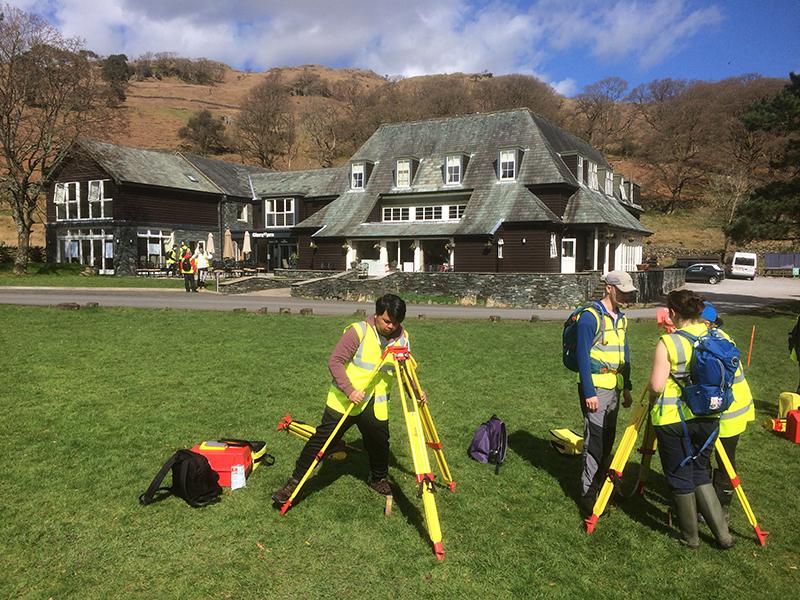 Newcastle University surveying students setting up targets