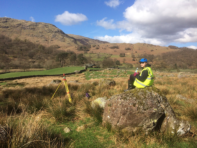 Newcastle University geomatics student surveying the Seathwaite Valley