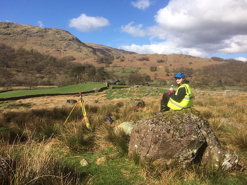 Newcastle University geomatics student surveying the Seathwaite Valley