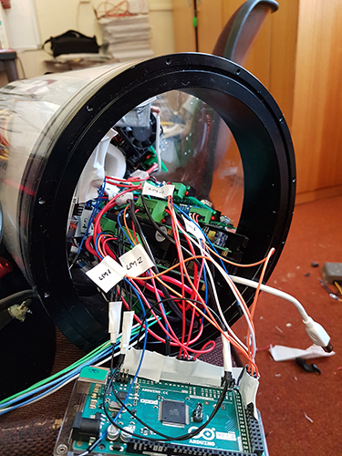 The internal electronics of the ROV
