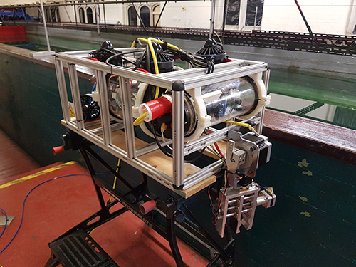 The ROV ready for testing in our towing tank