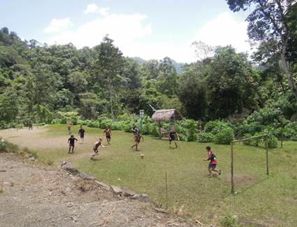 Weekly football match with the locals