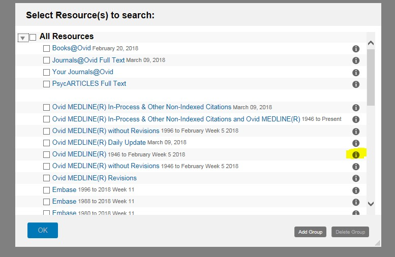 Screenshot of the Ovid list of databases. Need to click on the information button next to each database to find out more.