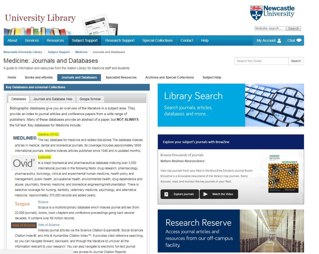 Medical subject library guide screenshot with OVID databases highlighted