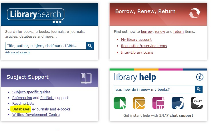 Library homepage with database link highlighted