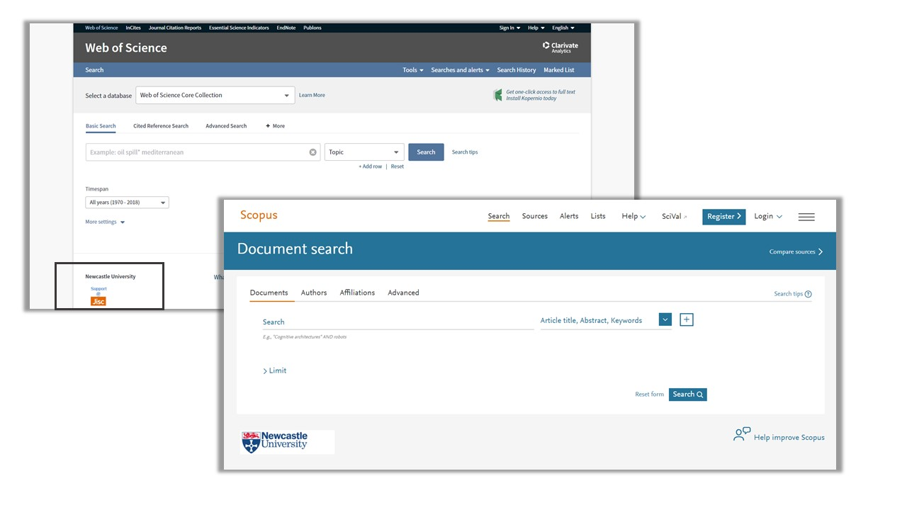 A screen shot showing the log in section of Scopus and Web of Science