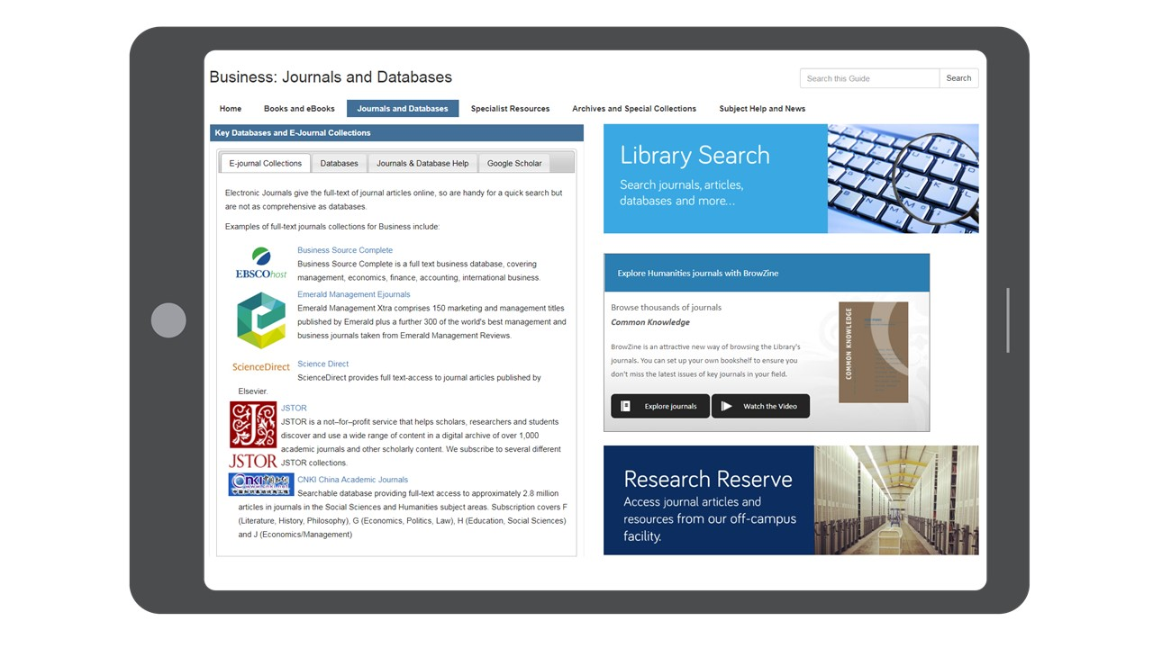 Subject guides journals and databases tab
