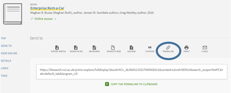 Screen shot of Library Search highlighting where to find the Permalink for entries.