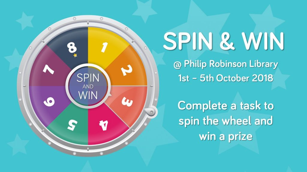 Image for library spin and win competition, 1st-5th October 2018