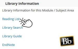 Library Information, Reading Lists on Blackboard