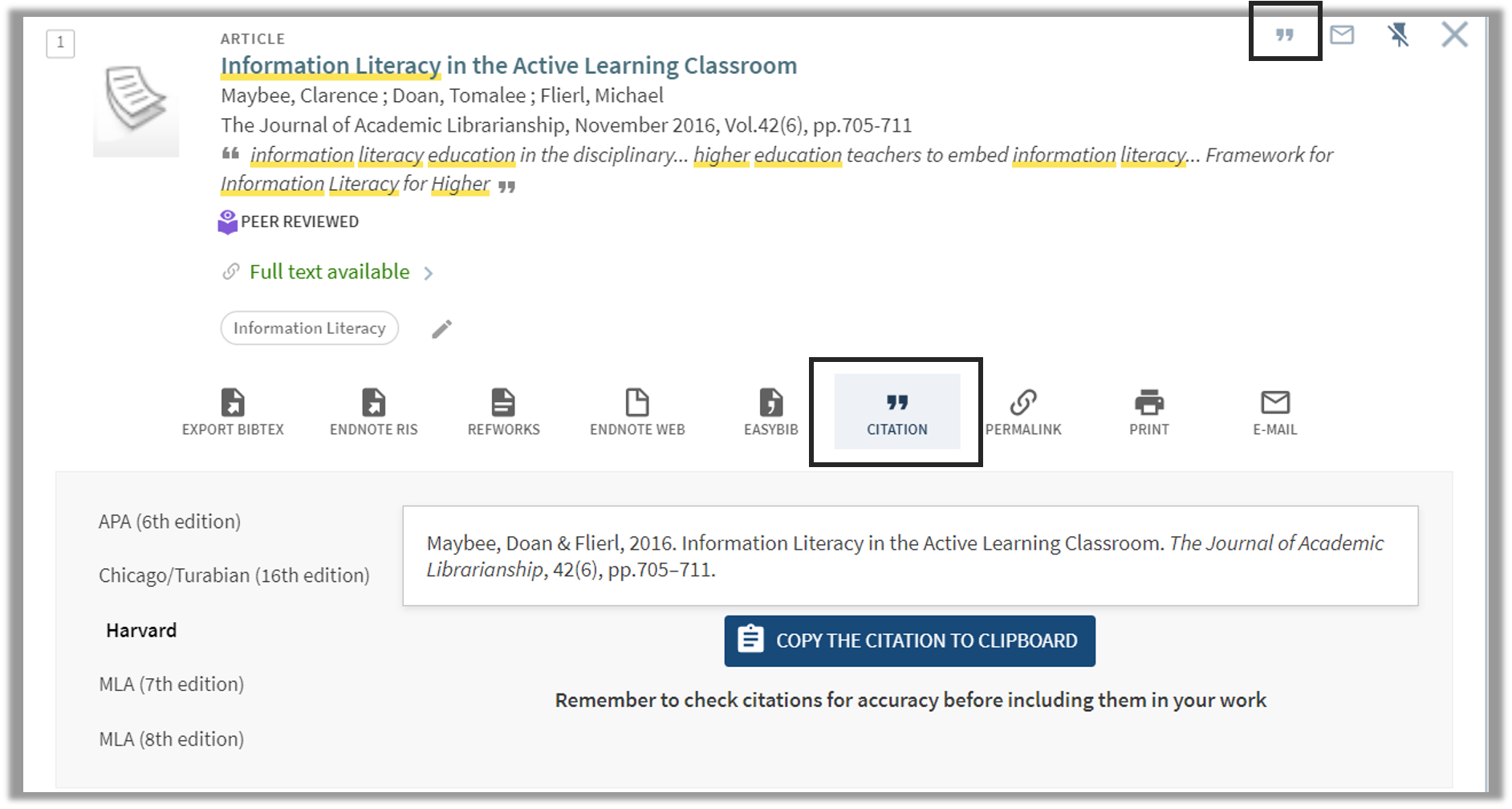 Image showing the citation button in Lbrary Search