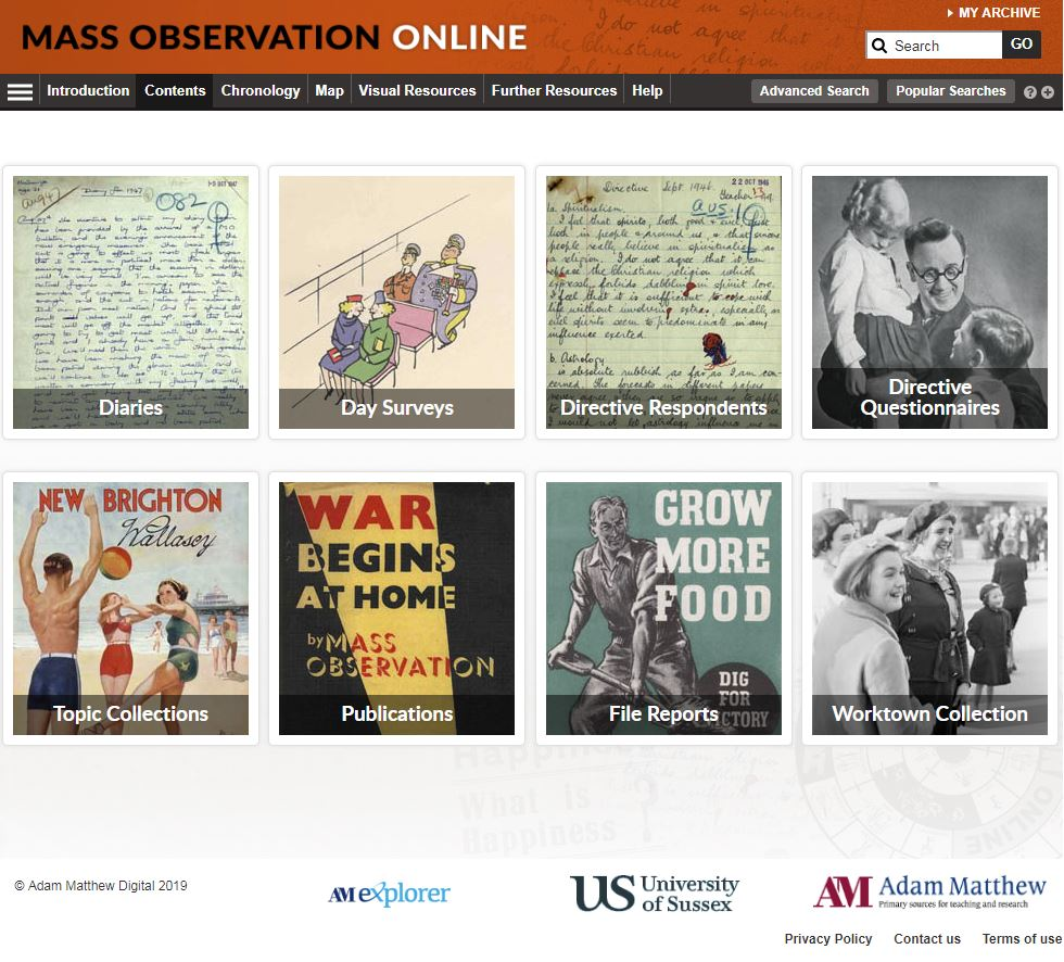 Mass Observation home page